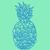 Pineapple. Linocut.