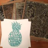 Pineapple and Rooster. Linocuts.