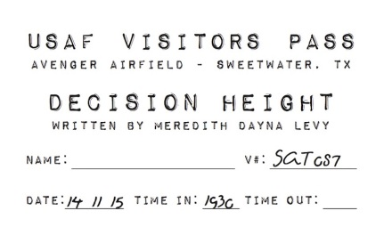 In keeping with the militant theme, tickets for the production were visitors passes with the date and time of the show.